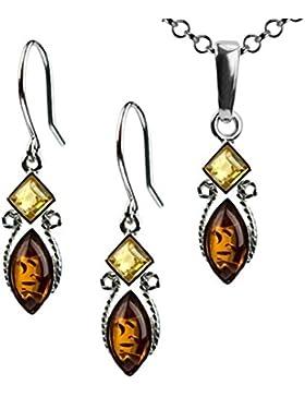 Mehrfarbiger Bernstein Sterling Silber Schmuck Set Ohrhänger Halskette 46 cm