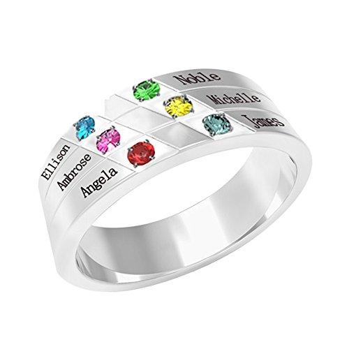 Collienght Ring Sterling Silber Ring für Frau Pro-Ring Simulation Schwangere Frau Schriftzug Familie Schmuck Muttertagsgeschenk(Silber Plated 63 (20.1))