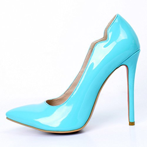 Kolnoo Femmes Handmade 11cm Slim haut talon pointu orteil Slip On Party Prom pompes blue