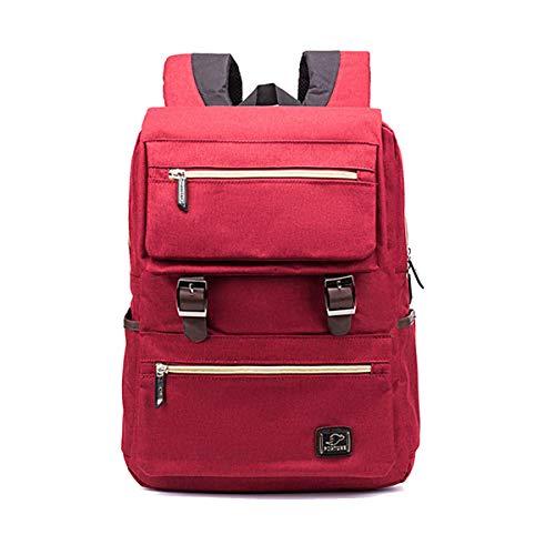 (Yslin Groß Outdoor Rucksack Herren Laptop Backpack Damen Schulranzen Jungen Mode Schulrucksack Mädchen Trend Schoolbag Canvas (Rot))