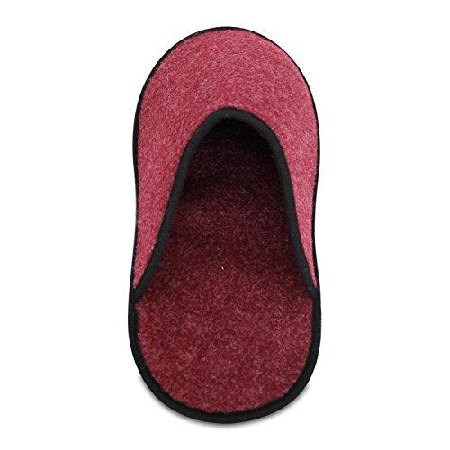 5 Paar Museumspantoffeln Überziehschuhe, klein, strapazierfähiger dünner Filz, faltbar, Innenlänge 30 cm Schuhüberzieher Rot
