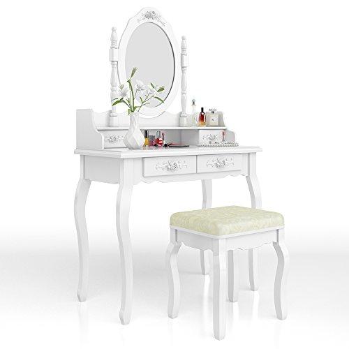 Vicco Schminktisch Lady Rose in Weiß im Vintagestil mit Hocker und Lichterkette - Kosmetiktisch...