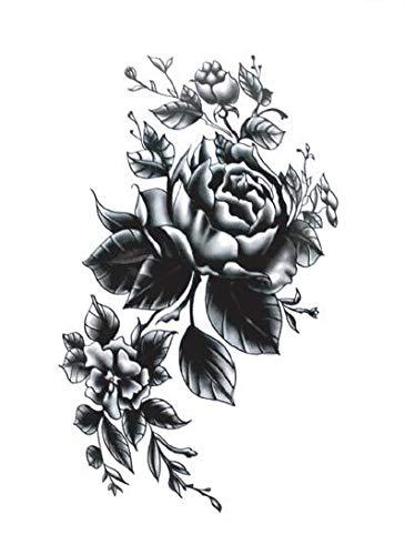 Yangll wasserdichte Temporäre Gefälschte Tätowierung Aufkleber Graue Blumen Große Traditionelle Design Body Art Bilden Werkzeuge 11X15Cm4Ps