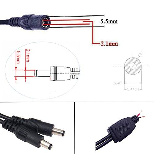KaBenjee 2X DC 1 Buchse zu 2 Stecker 5,5×2,1mm DC Splitter Kabel Powercable DC Verteiler Kabel Stromkabel für LED Streifen,CCTV Kamera Y Splitter Kabel,DC Stromkabel DC Stromverteiler - 4