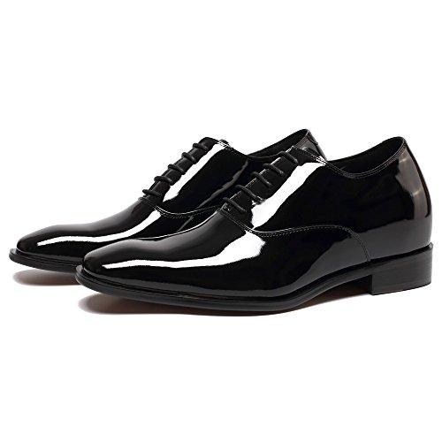 Aus Lackleder 7 Höher K6532B Schnürhalbschuhe Schuhe cm Tuxedo in Elevator Herren Schwarz CHAMARIPA Schwarz 7TPXzII
