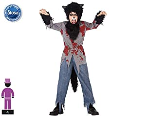 Atosa-55653 Atosa-55653-Disfraz Lobo Sangriento para niño Infantil-Talla, Color negro 7 a 9 Años (55653