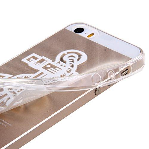 Kakashop iPhone 5C Silicone Etui Case Cover Transparent Crystal Clair Doux TPU, Rétro Fleur Peinture de Style Soft Gel Retour Housse Coque pour iPhone 5C(tournesol 2) ancres