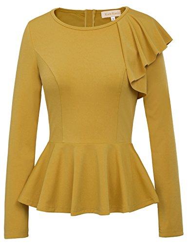 Damen 50er Jahre Langarm Rüsche Hals Basic Office Shirt Blusen Gelb 824 X-Large -