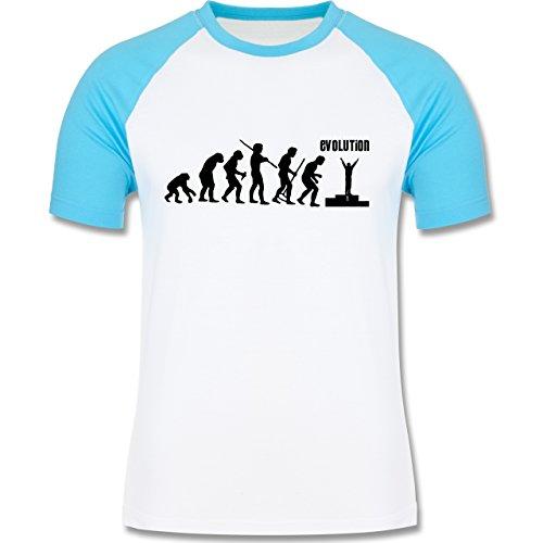 Evolution - Gewinner Evolution - zweifarbiges Baseballshirt für Männer Weiß/Türkis