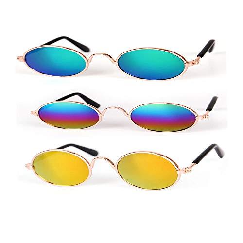 GLQ Pet Sonnenbrillen-Cool Stylish und Funny Circular Windschutzscheibe Eye Wear- Wasserdicht Schützen Sie Ihr Haustier vor UV-Schäden Geeignet für kleine Hunde oder Katzen,Green (Kostüm Auge Kontakte)