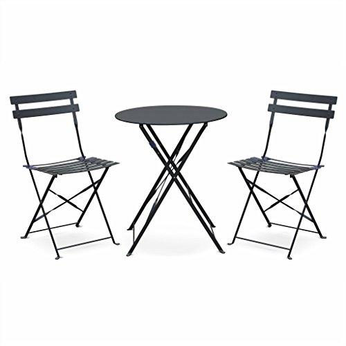 Alice's Garden - Salon de Jardin bistrot Pliable - Emilia Rond Gris Anthracite - Table Ø60cm avec Deux chaises Pliantes, Acier thermolaqué