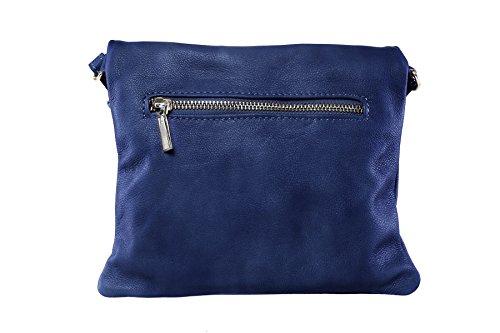"""Bags4Less """"Dubai"""" Clutch/sera borsa/borsa da donna in vera pelle (22bx19h cm), (arancione), s (Blu Royal)"""