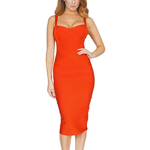 HLBandage Women's Spaghetti Strap Midi Rayon Bandage Dress Orange