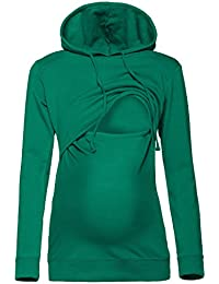 Happy Mama. Damen Kapuzenpullover Stillzeit Top Zweilagiges Sweatshirt. 272p