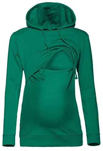 Happy Mama. Damen Kapuzenpullover Stillzeit Top Zweilagiges Sweatshirt. 272p (Flaschengrün, EU 38, M)