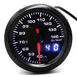 HERCHR - Misuratore di temperatura dell'olio per auto, 52 mm, 12 V, retroilluminazione a LED, 40~140 °C, doppio display, colore nero