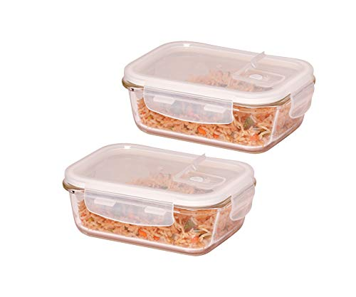 Femora Borosilicate Glass Microwave Safe Rectangular Container 620ml, Set of 2