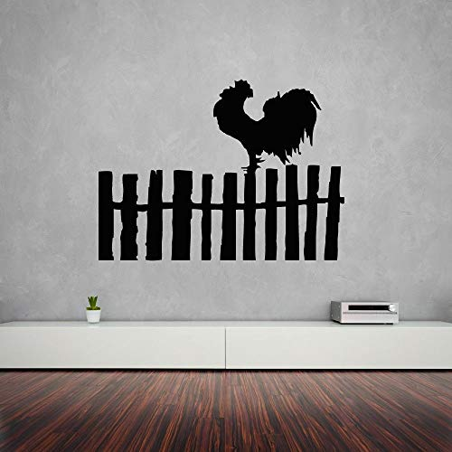 (Wandaufkleber Rooster Bird Farm Wandtattoos Dorf Zaun Design Schöne Dekoration Farm Design Wandtattoo Vinyl Farm Decals 42x31 cm)