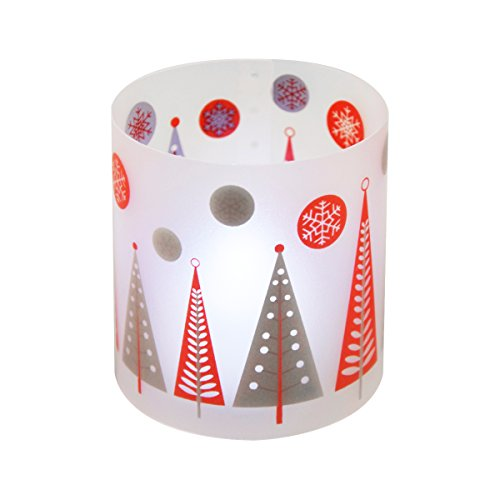 Incidencia Paris 54505 Christmas portavelas + vela LED polipropileno rojo/blanco juego de 4