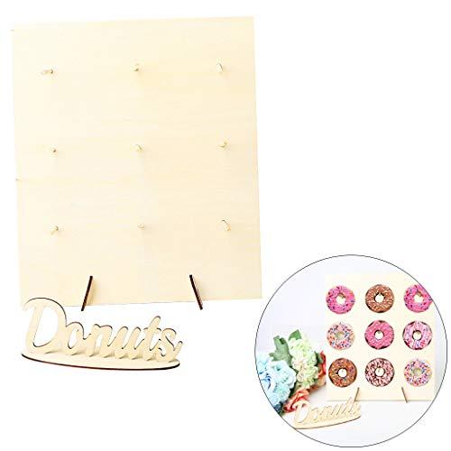 Donut Wall Aufsteller Bunte Candy Bar DIY Cake Alternative Donutwand mit Holz Display Ständer, VNEIRW Perfekt für Desktop Dekoration zum Party, Hochzeiten, Geburtstag (B) - Donut-display