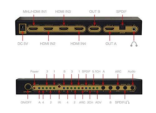 Leicke KanaaN 4K UltraHD HDMI 6×2 Matrix Switch | Fernbedienung | 5.1 Surround SPDIF optisch + Stereo 3.5mm Klinke Audioausgang | ARC und PIP | FullHD, UHD, 4K, 4K*2K kompatibel |HDMI 1.4 Standard - 6