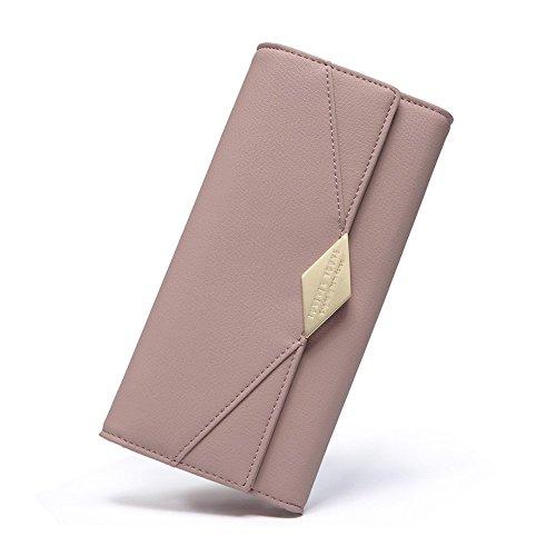 Damen Geldbörse Leder Kreditkarte Halter Lang Portemonnaie Handy Geldbeutel Frauen mit Druckknopf Rosa