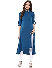 Poplin Strait Crepe Fabrics Fully Stitched Zip Kurti For Women & Girls In Low Price
