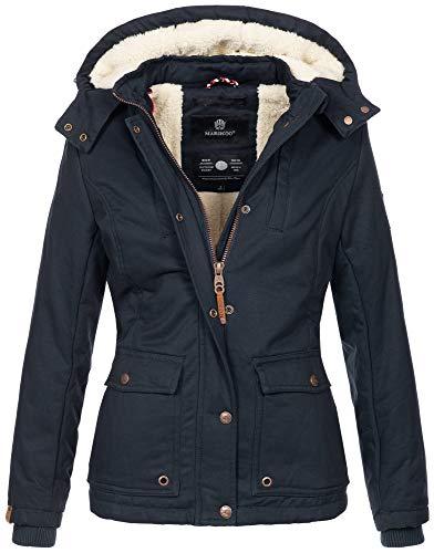 Marikoo warme Damen Winter Jacke Winterjacke Teddyfell Kapuze Muster B683 [B683-Kaik-Navy-Gr.S]