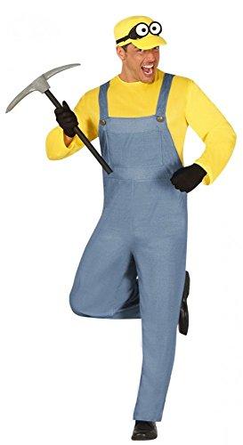 Minion Herren-Kostüm Bergarbeiter Gr. L Overall und Hut Erwachsene