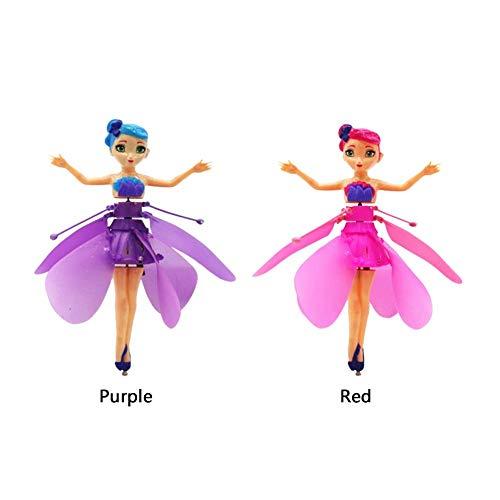 2 Stück Hubschrauber Kinderspielzeug Magisch Fliegende Fee Puppe - Induktionssteuerung RC Flugzeug und Fernbedienung Spielzeug - Geburtstagsgeschenk Ballett Mädchen Fliegende Prinzessin Spielzeug