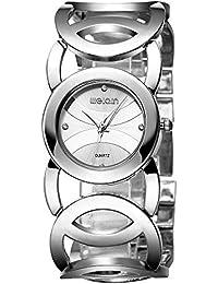Relojes Mujer con Pulsera de círculo Calado, Escala de Diamantes de imitación Relojes de Pulsera