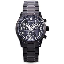 Swiss Millitary HANOWA Jun 15 - Reloj para hombres, correa de acero inoxidable color negro