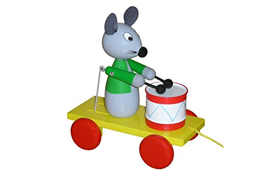 ABA Pull-Along Mouse Musician Cart with Drum (Coloured)