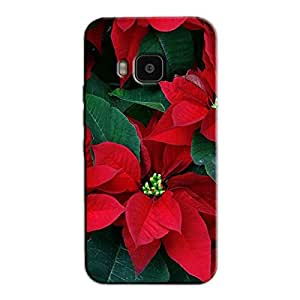 RED FLOWER PATTERN BACK COVER HTC ONE M9