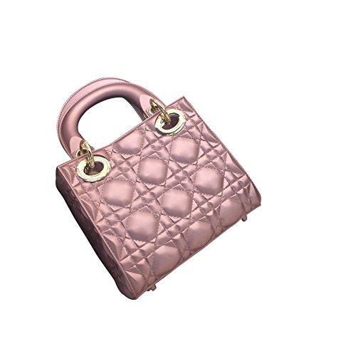 WTUS Damen Neue Lingge Paket Mini Schulter Umhängetasche Handtasche Pink