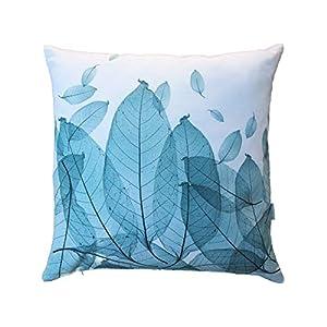 Blätterkissen | Kissen mit Blättern in Türkis/Petrol aus Baumwolle | Kissenhülle Kissenbezug 50×50 cm