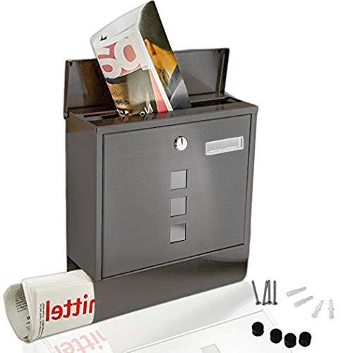Briefkasten Wandhalterung Wandbriefkästen mit Zeitungsfach, Sichtfenster, Edelstahl pulverbeschichtet, Wetterfest, Abschließbar, 2 Schlüssel (Typ 1 - Schwarz)