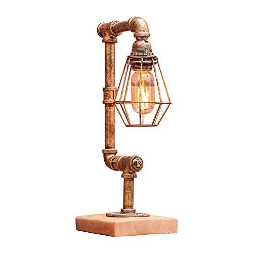 Wasserpfeifen-Tisch- / Schreibtischlampe, Vogelkäfig Designer Steampunk-Tischleuchte, Echtholz-Basis, rustikales Home-Deco-Dampf-Punk-Industrie-Loft-Interieur-Design, Victorian-Edison-Retro-Lampen aus - Industrie-designer