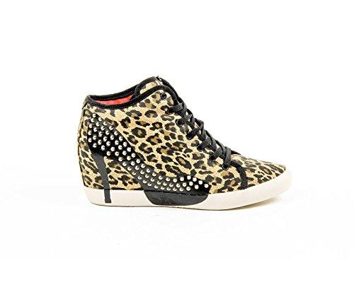 Olo Womens High Sneaker 28C12 28 ADRIANA CANVAS GOLD PRINTING STUDS Léopard