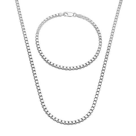 3mm Solid 925 Sterling Silver 3D Box 61 cm Chain & 7