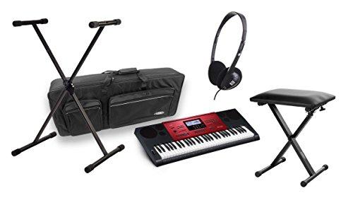 Casio CTK-6250 High-Grade-Keyboard DELUXE SET mit Bank, Ständer, Kopfhörer und Tasche (Keyboard: 61 Tasten, schwarz-rot, LD Display, Netzteil, Metronom, Midi, SD Kartenschacht, MP3, USB Port) Sd-starter