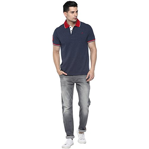 AMERICAN CREW Men's Navy Melange Solid T-Shirt with No.3 Applique - 3XL (AC379-3XL)