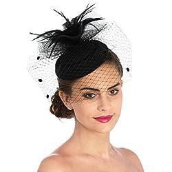 LUCKY Leaf Las mujeres chica tocados pelo Clip Horquilla sombrero boda coctel Tea Party sombrero de la pluma (7-Negro)