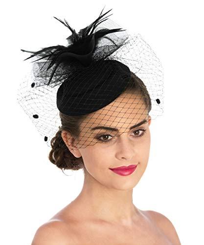 Lucky Leaf Damen Fascinator Haarspange Haarspange Hut Feder Cocktail Hochzeit Tee Party Hut und Haarband für Frauen Gr. 85, 7-black (Damen Kirche Passt)
