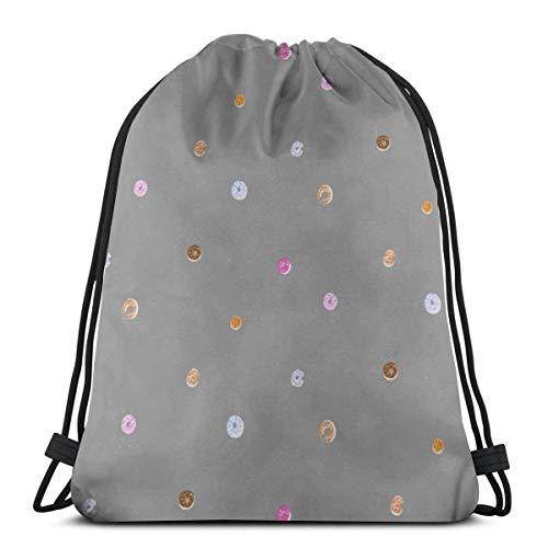 Donuts Drawstring Backpack Bag Gym Sack Sport Beach Daypack for Girls Men & Women Teen Dance Bag Cycling Hiking Team Training 17 X 14 Inch