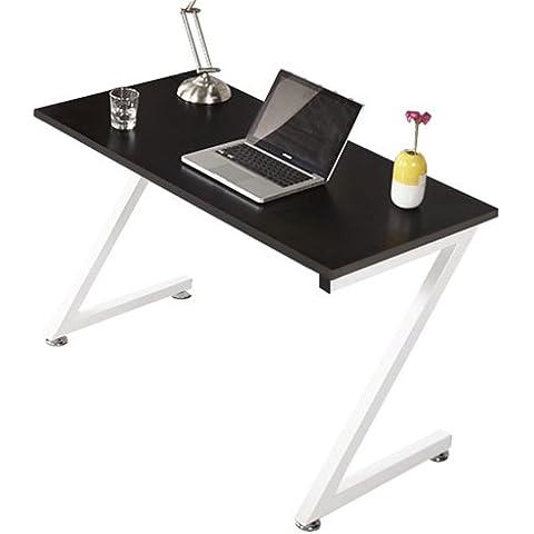 Kendan Zagan Negro - Compacto en Forma de Z Escritorio de esquina, para casa u oficina, y soporte para torre de ordenador de la horquilla de estación de trabajo