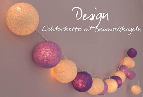 Lichterkette 'Lavendel' mit 35 Kugeln aus Baumwolle - Cotton Ball Lights in Cream - helles violett -...