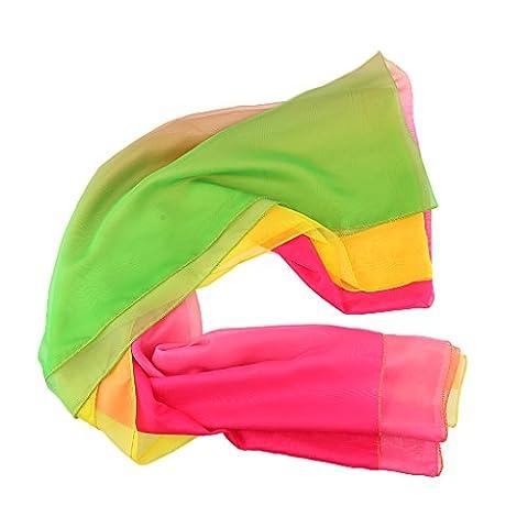Sharplace Voile de Danse Orientale Multicouleurs Accessoire de Pratique/Class de Danse - Gardient Vert,Rose Rouge,Jaune, comme décrit