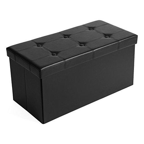 Songmics pouf cassapanca pieghevole con contenitore di 80 litri sedile morbido per 2-3 persone carico di 300 kg nero lsf105