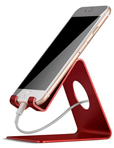 Handy Ständer, Lamicall Handy Halterung : Handyhalterung, Halter für Phone Xs Max, Xs, XR, X, 8, 7, 6 Plus, SE, 5, Samsung S9 S8 S7 S6 S5 S4, Huawei, Schreibtisch, andere Smartphone - Rot (Pass Und Handy-halter)